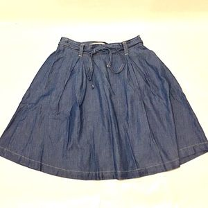 Dresses & Skirts - Denim Skater Skirt with Belt Tie